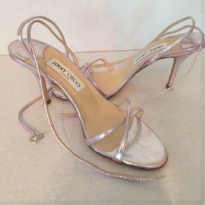 JIMMY CHOO metallic pink strappy sandals size 38.5